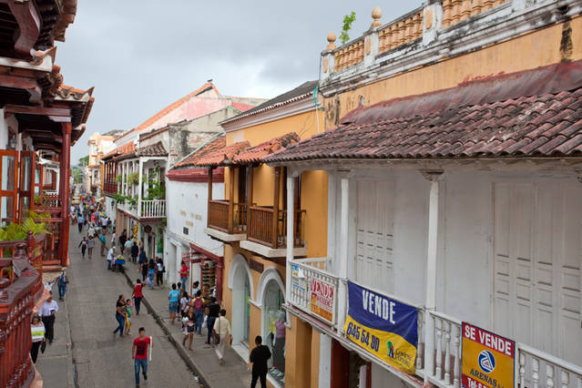 View of the street below the Balcones apartments